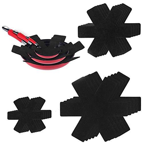 flintronic Protection Casseroles et Protège-poêle, 15PCS Poele Protection(3 Tailles), Premium Coussinets d