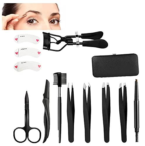 Eyebrow Grooming Suit Kits, Stainless Steel Eyebrow Scissors Utility Tools, Professional Eyebrow Tweezers, Shaping Razor, Pen, Brush, DIY Shape Card for Women 13 PCS