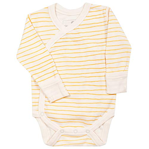 MakeMake Organics Organic Cotton Baby Bodysuit GOTS Certified Organic Kimono One-Piece Newborn Onesie Long Sleeve Mittens Breathable Hypoallergenic Unisex Baby Boy Girl (0-3 Months, Yellow Stripes)