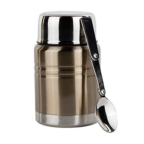 fiambrera Aislantes for alimentos y comida termo Contenedor con cuchara plegable (16 oz.) De acero inoxidable-Jar comida caliente y almacenamiento en frío |Sopa, café, agua, líquidos |Hermética, a pru