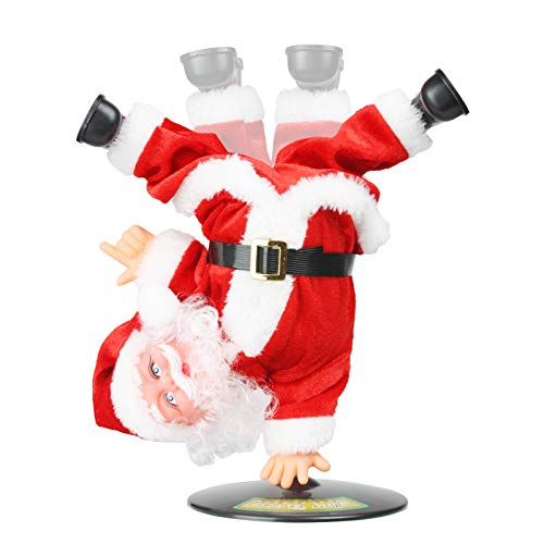 SdeNow Singing Dancing Santa Claus, Christmas Inverted Rotating Santa Claus Xmas Electric Musical Dolls Electric Plush Toy Ornaments Xmas for Kids