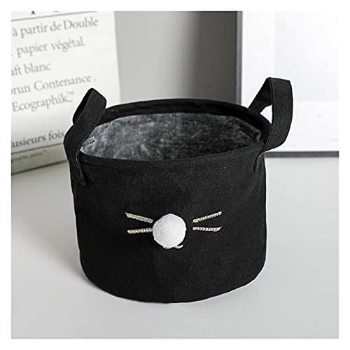 Cesta de almacenamiento 1 unids Caja de almacenamiento de estilo nórdico de algodón 20 * 15 cm Canasta Dibujos animados Cat Pattern Sundies Organizador Caja Baño Plegable Ropa sucia ( Color : Black )