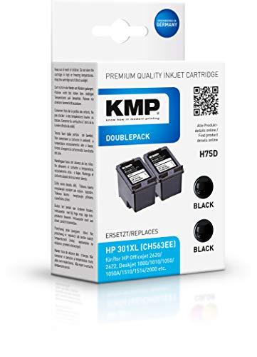 KMP Druckerpatrone für HP 301 XL Doppelpack Schwarz - Kompatibel - Tintenpatrone für HP Deskjet 2050-2er Set - Office Druckerzubehör