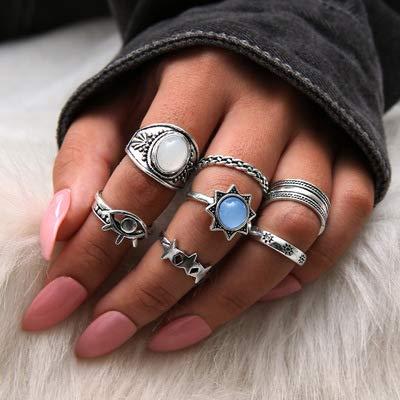 Forall Anillo De Nudillos De Ópalo Bohemio Anillos De Plata Set Star Fingers Conjunto De Joyería Retro Vintage Para Mujeres y Niñas