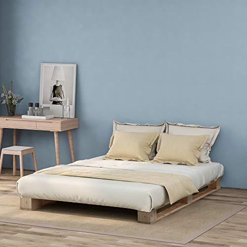 Cadre de lit Solide Bedstead Base En Bois Solide Lit Simple Cadre Plate-forme De Plate-forme Avec Support De Latte Fort, Bois Naturel, 90 * 200cm