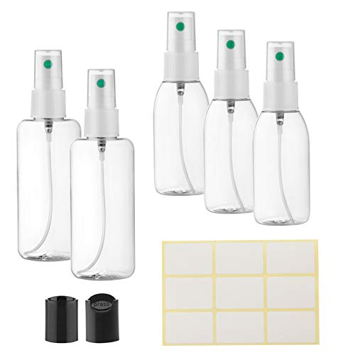 Sprühflasche Klein Leer 2 x 100ml und 3 x 50ml | Zerstäuber Nachfüllbar | Pumpsprühflasche für ätherische Öle | Extra 2 Press Klappverschluss | Spray bottle | MADE IN EU |