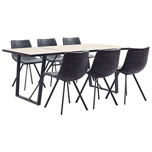 Lepeuxi Conjunto de Comedor Mesa y Sillas 7 Piezas Cuero Sintetico Color Negro 180 x 90 x 75 cm/46 x 58 x 81 cm