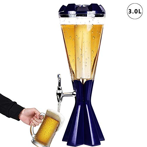 REAWOW 3L Getränkesäule Beer Tower Dispenser Drink Dispenser mit Ice Tube und LED Lights Keg Tag für Küchenparty