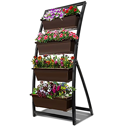 6-Ft Raised Garden Bed - Vertical Garden Freestanding Elevated Planter with 4 Container Boxes - Good for Patio or Balcony Indoor and Outdoor (1, Espresso Brown)