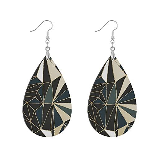 Pendientes de madera de moda gota colgantes ligeros lágrima pendientes forma gota pendiente para las mujeres joyería nueva art deco geometría esmeralda verde y oro