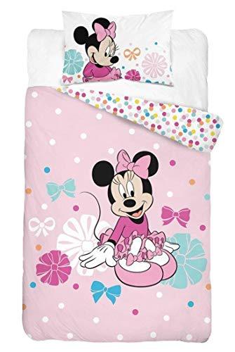DP Disney Baby Minnie Mouse Baby Bettwäsche 100x135 cm, Kissen 40x60 cm 100% Baumwolle (Rosa Smile)