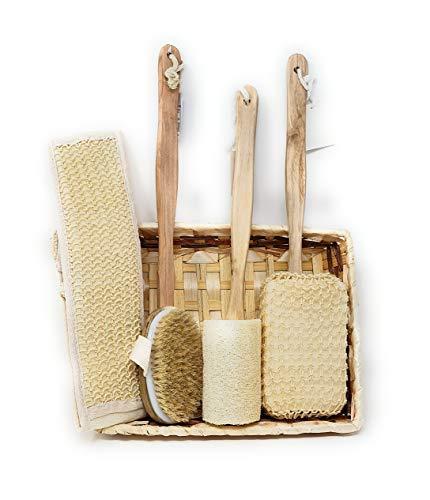 Pack » Esponjas Mango + Cepillo Exfoliante Corporal con Mango removible + Set de esponja natural