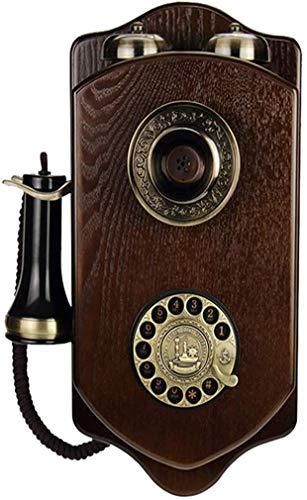 LLKK JNYTD - Teléfono retro europeo de pared de madera con esfera giratoria antigua para teléfono de hotel