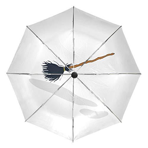 MONTOJ Witch's Besen Sonne & Regen Reise?Regenschirm UV-Schutz mit automatischer Öffnung Taste