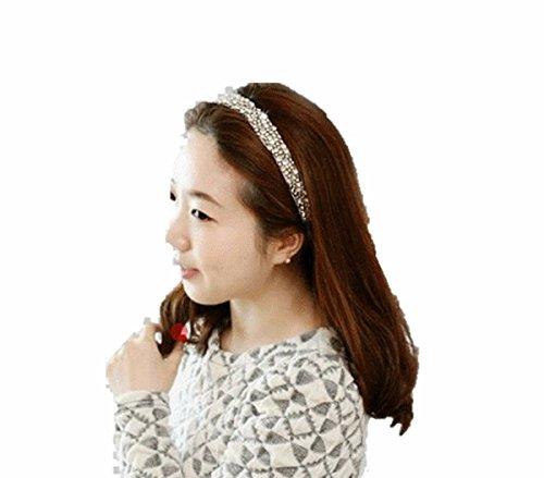 Accesorios para el pelo para mujer para peinarla Glam cintas para el pelo con cristales con cinta de goma de pelo decoración elástico blanco novedadpara, gris muy bonitos!