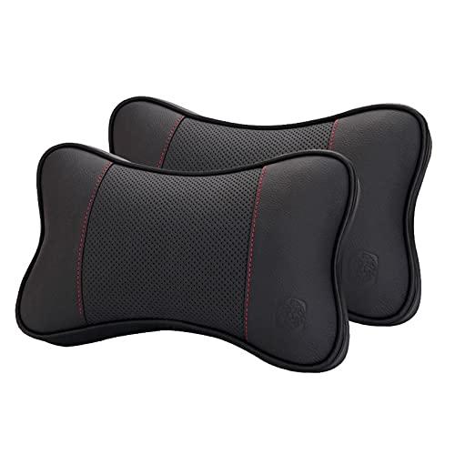 DSMGLSBB Auto-Nackenkissen, 2 Stück Doppelseitiges Leder-Nackenkissen, Auto Kopf Nackenstütze Kissen Kopfstütze Mit Abnehmbarem Sicherheitsgurt Für Autositz,B