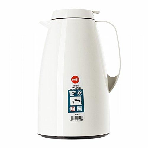 Emsa 505013 Isolierkanne, Thermoskanne, 1,5l Füllvolumen, Kaffeekanne, Quick Tip Verschluss, Basic in weiß