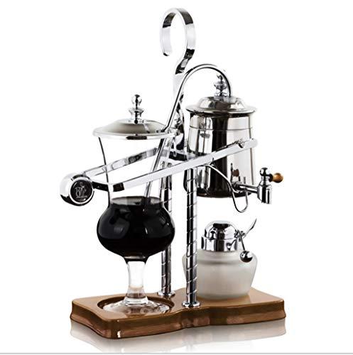 Cafetera Sifón Cafetera con Filtro de Goteo Tipo sifón de Acero Inoxidable para el hogar máquina de café de Oro y Plata (Color : La Plata)