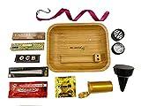 Kit per fumare - Vassoio per rollare in legno - Posacenere da spiaggia - Grinder per spezie - Cartine aromatizzate - Barattolo ermetico - Portapenne - Premium Pack