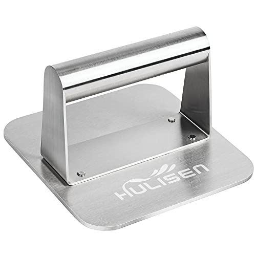 HULISEN Burger Press, Stainless Steel Burger Smasher, Non-Stick Smooth Hamburger Press, Square Bacon Grill Press - Professional Griddle Accessories Kit for Flat Top Griddle Grill Cooking