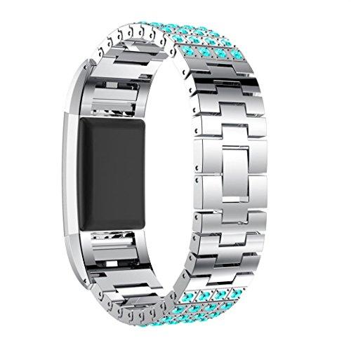 SHOBDW Fitbit Charge 2 Armband, 2018 Neu Crystal Edelstahl Handgelenk Ersatz Uhrenarmband für Fitbit Charge 2 (130-210mm, D)