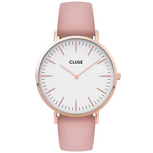 CLUSE dames analoog kwarts horloge met lederen armband CW0101201012