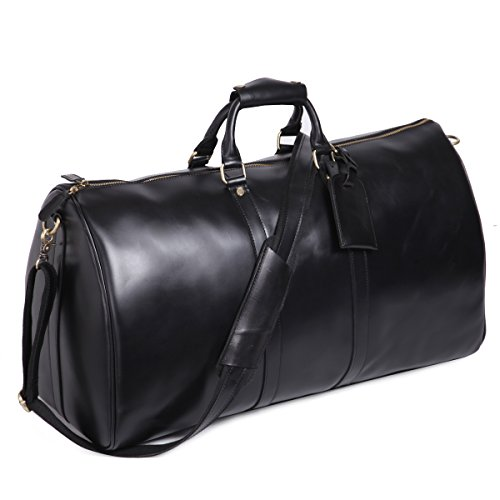Leathario Mens Genuine Leather Overnight Travel Duffle Overnight Weekender Bag Luggage Carry On Airplane(Black-122)
