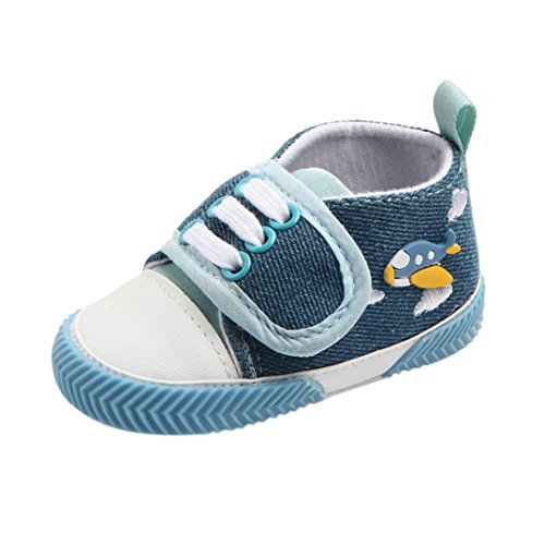Fossen Moda Bebé Niño Zapatos con Cordones Pato Dibujos Animados Imprimir Antideslizante Primeros Pasos (6-12 Meses, Azul)