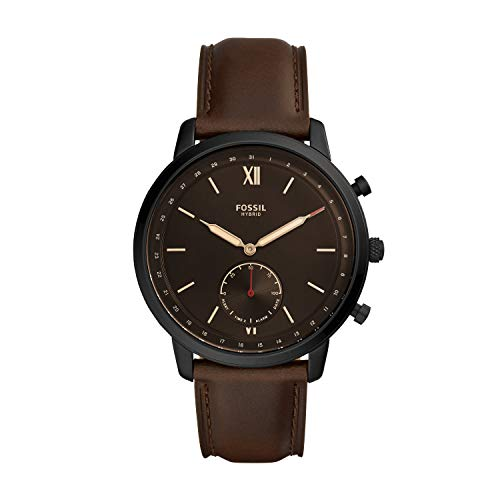 Fossil Men's 44MM Neutra Stainless Steel and Leather Hybrid Smart Watch, Color: Black/Brown (Model: FTW1179)