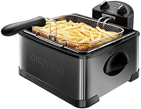 Chefman Deep Fryer with Basket Strainer 4 5 Liter XL Jumbo Size Adjustable Temperature Timer product image