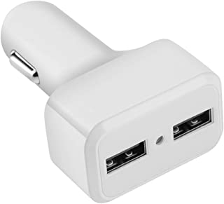 Zerone Car Charger, Mini USB Car Charger Adaptor 2 in 1 Multifunctional Car GPS Tracker Locator Monitor Dual Port USB Charger(White)