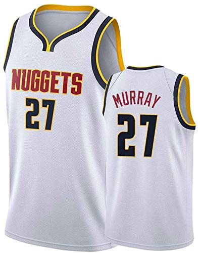 XIAOHAI NBA Basketball Jersey Denver Nuggets # 27 Jamal Murray Transpirable Resistente al Desgaste Bordeado Baloncesto Swingman Jerseys Camiseta Deportiva Jerseys,Blanco,L