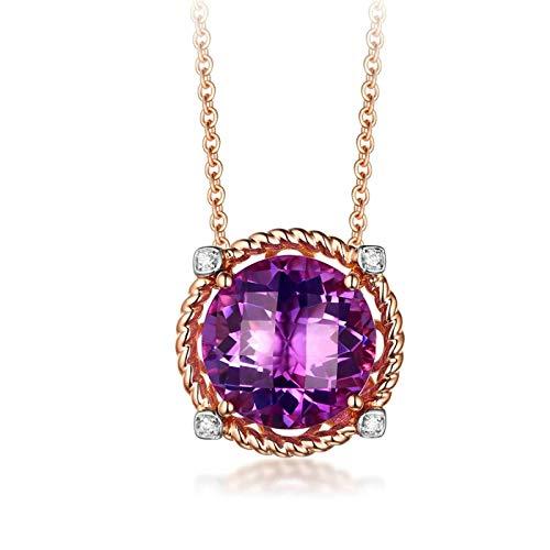 AYDOME Novelty Jewellery Gifts for Women, 4.01ct Amethyst Round Diamond 18K Rose Gold Purple Brides Girls