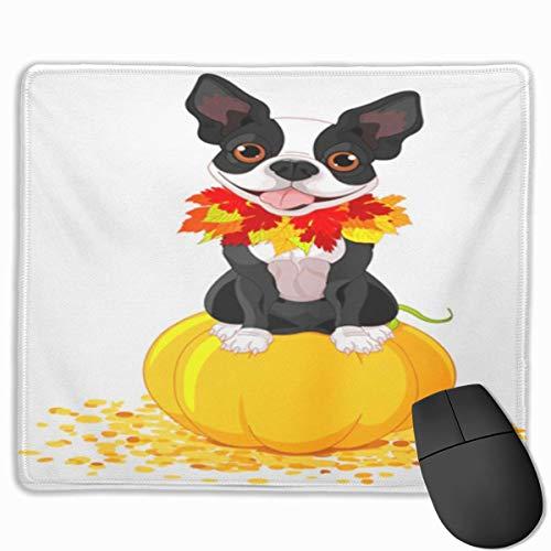 Nettes Gaming-Mauspad, Schreibtisch-Mauspad, kleines Mauspad für Laptop-Computer, Mausmatte Hund Boston Terrier sitzt auf Kürbis Halloween Cartoon Kostüm Tiere Kunstwerke Rasse