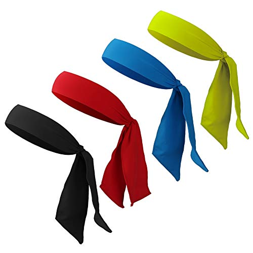 4 Stück Sport Stirnband für Frauen und Männer Bandana Cap Sport Kopfbedeckung verstellbares Schweißband, Kopfband für Laufen, Training, Tennis, Karate, Leichtathletik