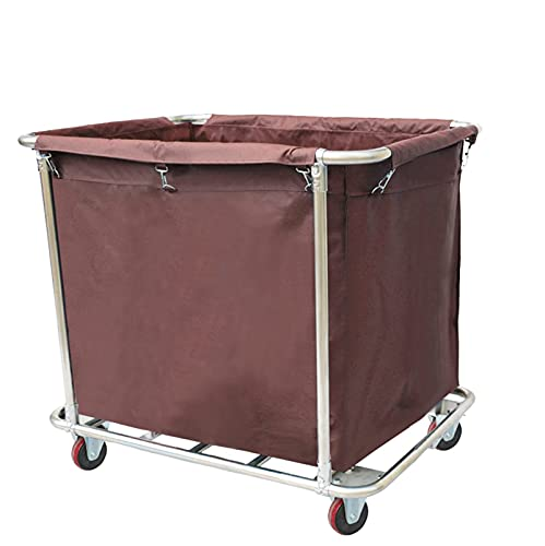 FACAZ Contenedor de lavandería Rectangular con Ruedas con Bolsa, Carro clasificador de lavandería Comercial portátil extraíble, con asa para hoteles, Hospital (Color: Azul)