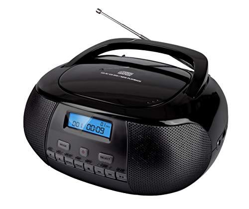 Nikkei NPRD58BK - Tragbare DAB+ Digital Radio Boombox mit CD-Player - USB- und Kopfhöreranschluss - Batterien und Netz - LCD-Bildschirm - Kompakt - Baustellenradio - Schwarz