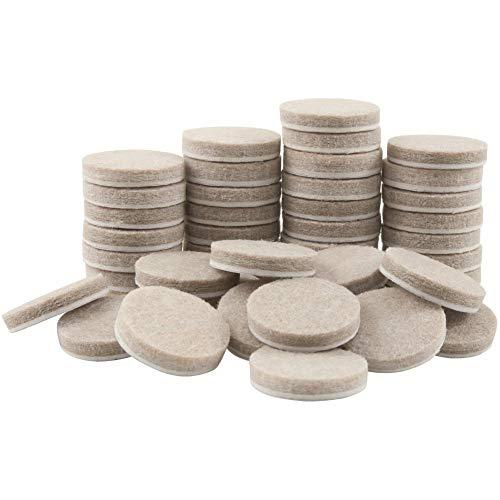 Almohadillas redondas de fieltro para muebles para superficies duras, protectores de piso de alta calidad, 48 unidades