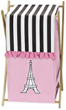 Sweet Jojo Designs Childrens/Kids Clothes Laundry Hamper for Pink, Black and White Paris French Eifell Tower Bedding