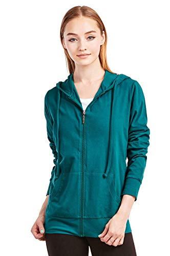 Sofra Women's Thin Cotton Zip Up Hoodie Jacket (L, Peacock)