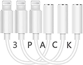 3 Pack iPhone 3.5 mm Headphone Jack Adapter, [Apple MFi Certified] Lightning to 3.5 mm Earphone AUX Audio Dongle Converter Compatible with iPhone 12/11/XS/XR/X/8/7/iPad Accessory Support All iOS