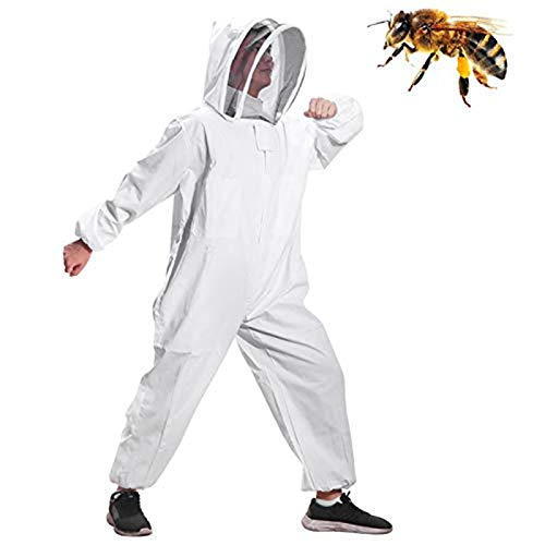 Moontay Combinaison d'Apiculture pour Tout le Corps Vêtements à Capuchon avec Voile Manteau de Protection pour...