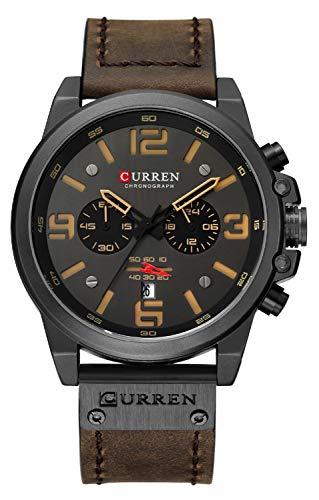 CURREN Dark Brown Chronograph Fashion Trend Multi-Function Waterproof Quartz Watch Leather Strap Military Watch (Coffee)