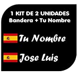 Pegatina Vinilo Bandera España + tu Nombre - Bici, Casco, Pala De Padel, Monopatin, Coche, Moto, etc. Kit de Dos Vinilos (Fuentes 1)