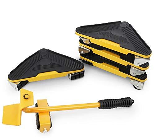 Lève-meubles facile à déplacer curseur ensemble d'outils 5 pièces système de levage de mouvement de meubles lourds charge maximale rembourrage rotatif à 360 degrés