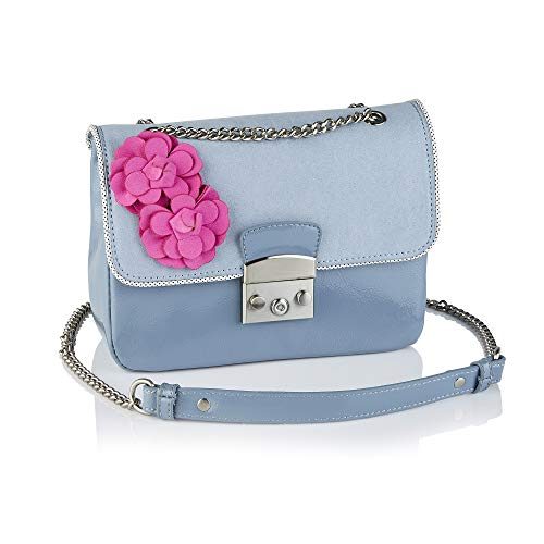 Ruby Shoo Damen Handtasche Salvador Flower Glossy Lacktasche (Helles Graublau/Pink)