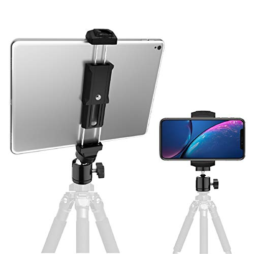 iPad and Phone Tripod Mount Adapter with Swivel Ball Head, Rotating tablet holder for tripod, Universal for Smartphone & iPad mount,fits iPad 8th,iPad Pro,iPad Mini, iPad Air 1 2 3 and All Cell Phones