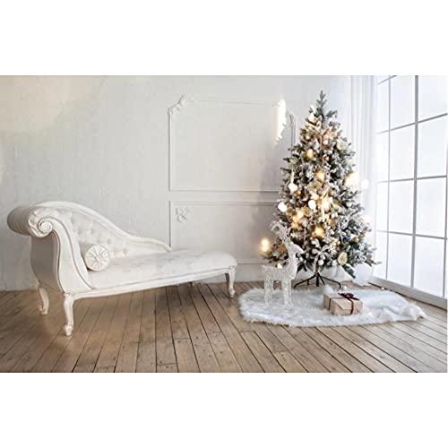 Casarse con árbol de Navidad, sofá Blanco, Guirnalda, Piso de Madera Ligero, Ventana, Regalo, Alfombra, Acogedor, decoración, Estudio de Fondo de fotografía-180x120cm