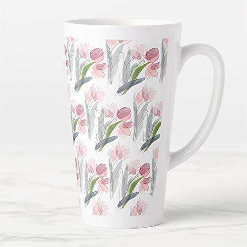 Taza de café de 17 onzas, con tapa y cuchara, diseño de tulipanes de color rosa, verde salvia, gris y hojas blancas, taza de café con leche