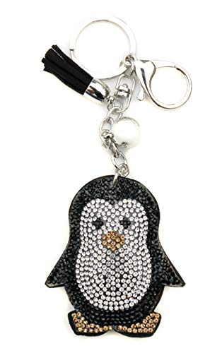 AuPra Crystal Penguin KeyRing Gift Idea Women & Men New Home Bird KeyChain | Mum & Dad Novelty Friendship Charm Key Ring Present | Girl & Boy Cute Best Friend Mini Pendant